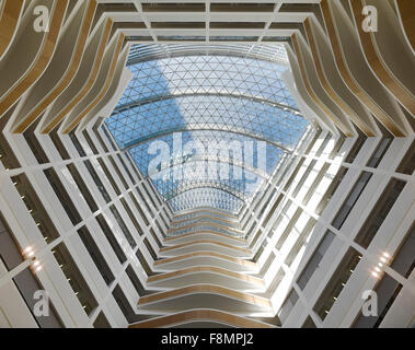 One Angel Square, The Co-op HQ Manchester. The view up inside the atrium at the award-winning sustainable Head Office - Stock Photo