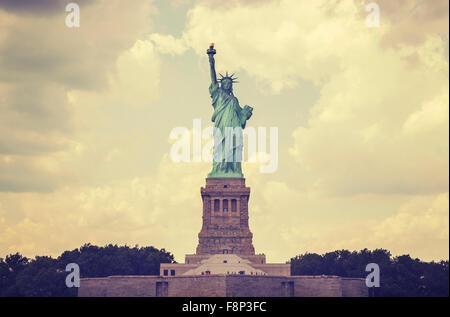 Vintage toned Statue of Liberty, NYC, USA. - Stock Photo