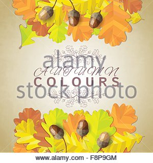 Autumn background with oak leaves and acorns. Vector illustration - Stock Photo