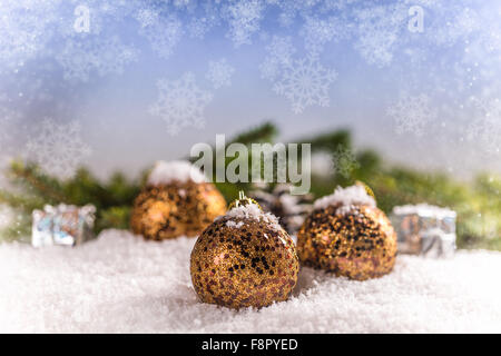Christmas balls and snowflake on blurred background - Stock Photo
