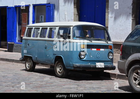 Old volkswagen transporter van parked by the side of the for 14 window vw bus