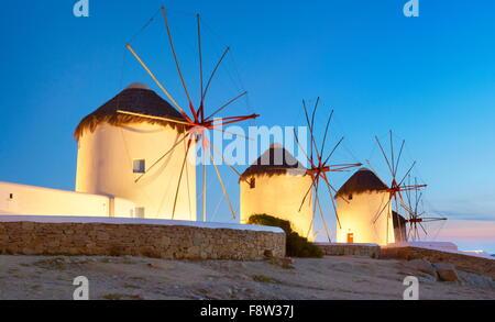 Mykonos night evening landscape with a windmills, Mykonos Island, Cyclades Islands, Greece - Stock Photo