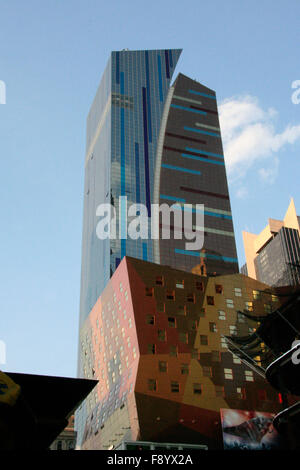 Low & wide angle view of skyscrapers in midtown Manhattan, New-York - Stock Photo