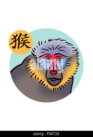Chinese zodiac sign for year of the monkey featuring illustration of mandrill - Stock Photo