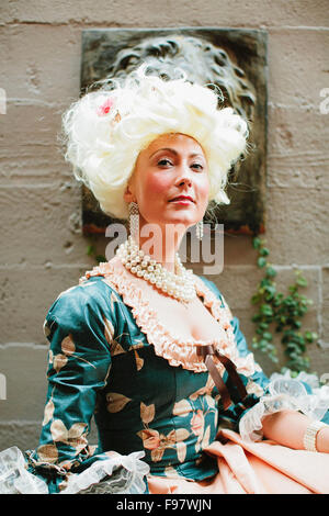 Portrait of woman in Victorian era dress. - Stock Photo