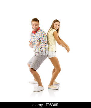 Smiling young people dancing, isolated on white background - Stockfoto