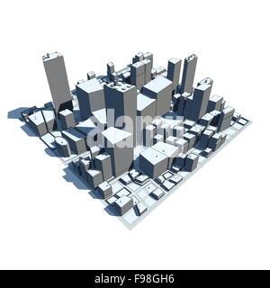 Cityscape Model 3D - Cartoon Syle - Stock Photo