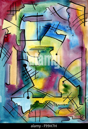 Abstract artwork with color spots and different shapes and lines - Stock Photo
