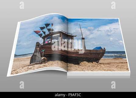 Fishing boat at the Baltic Sea beach, Heringsdorf, Usedom Island, Vorpommern-Greifswald, Mecklenburg-Western Pomerania, - Stock Photo