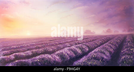 Original oil painting of lavender fields on canvas.Sunset landscape. Pink and purple sun light, color illustration. - Stock Photo