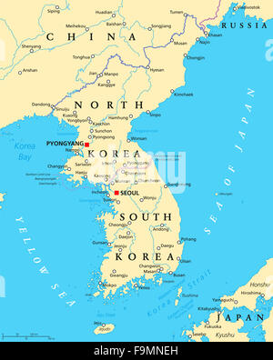 Political map of japan north korea and south korea with the korean peninsula political map with north and south korea and the capitals pyongyang and seoul gumiabroncs Choice Image
