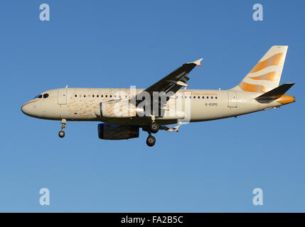 G-EUPD British Airways Airbus A319-131 - cn 1142 painted in 'Olympic Dove' special colours, landing at London Heathrow - Stock Photo