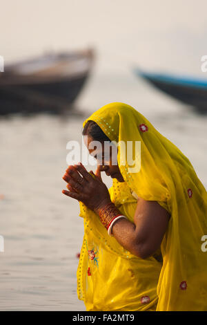 A devout hindu woman in yellow sari bowing, praying and bathing with hands clasped together in the holy Ganges river - Stock Photo