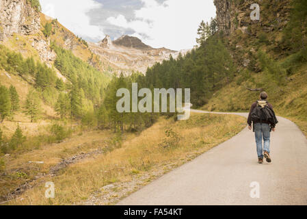 Rear view of mature hiker walking on road, Austrian Alps, Carinthia, Austria - Stock Photo
