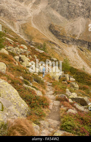 Rear view of a mature hiker climbing on mountain, Austrian Alps, Zirmsee, Carinthia, Austria - Stock Photo