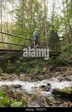 Mature hiker crossing footbridge in forest, Austrian Alps, Carinthia,  Austria - Stock Photo