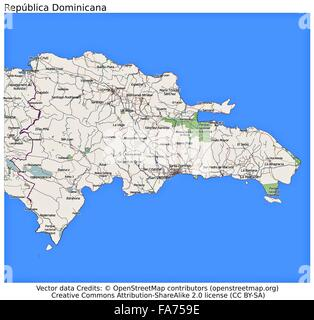 Dominican Republic country physiography map Stock Photo 92173949