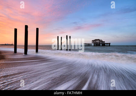 The remains of Brighton's west pier - Stock Photo