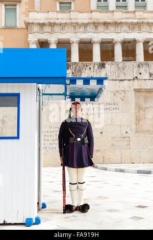 Presidential Guard soldier, called an Evzone, in front of the Hellenic Parliament, the Greek parliament building, - Stock Photo