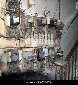 old electrical installation with fuse box stock photo ... old style residential fuse box old residential fuse box