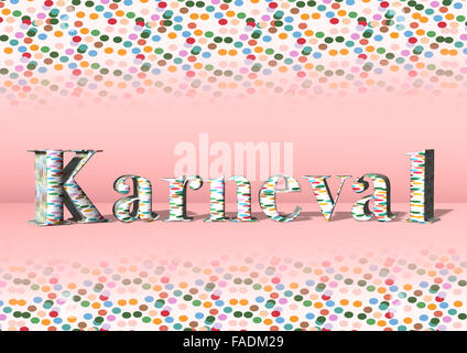 3D lettering Karneval or carnival, with colorful confetti - Stock Photo