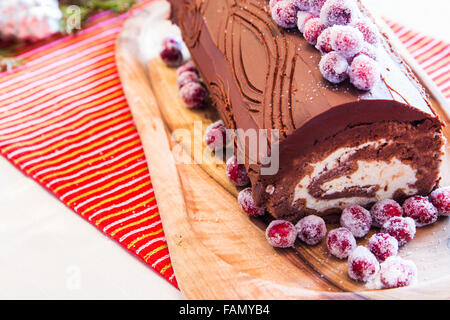 buche de noel cake with christmas decoration stock photo. Black Bedroom Furniture Sets. Home Design Ideas