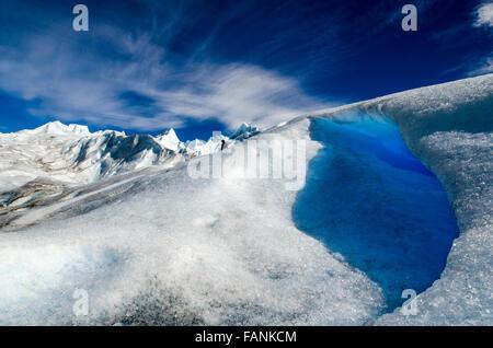 Man walking on snow Perito Moreno glacier Perito Moreno National Park, Patagonia, Argentina, South America - Stockfoto