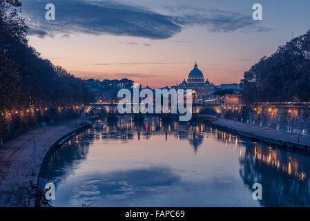 Rome, Italy: St. Peter's Basilica and Saint Angelo Bridge - Stock Photo