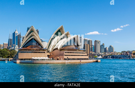 Australia, New South Wales, Sydney Harbour, view of Sydney Opera House at Bennelong Point - Stock Photo