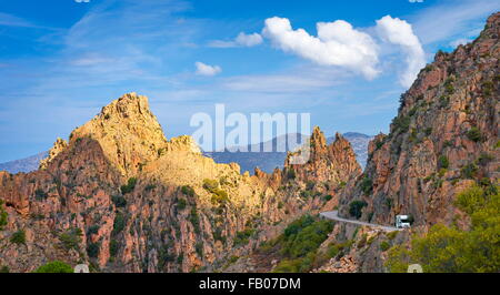 Les Calanches, volcanic red rocks formations mountains landscapes, Golfe de Porto, Piana,  Corsica Island, France, - Stock Photo