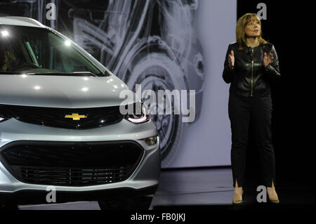 Las Vegas, Nevada, USA. 06th Jan, 2016. General Motors CEO Mary Barra presents the electric car Chevrolet Bolt at - Stock Photo