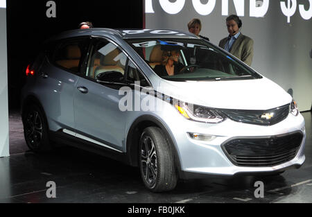 Las Vegas, Nevada, USA. 06th Jan, 2016. The electric car Chevrolet Bolt pictured at the 2016 International Consumer - Stock Photo