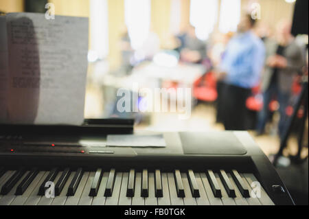 Piano close-up at live concert indoor - Stock Photo
