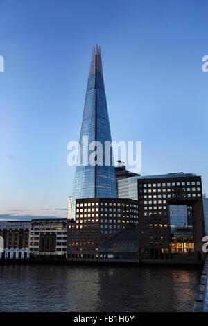 View of the Shard from London Bridge, London, UK - Stock Photo