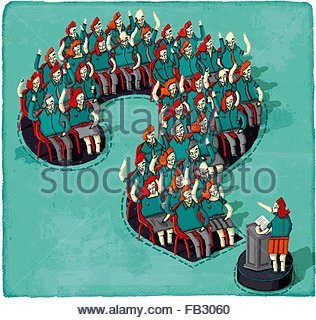 Public speaker and audience in question and answer session inside of question mark - Stock Photo