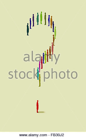 Question mark formed from people standing in a row - Stock Photo