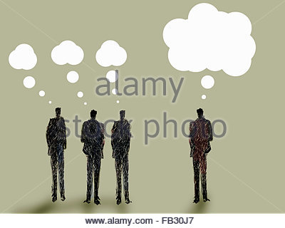 Businessmen with small thought bubbles and businessman with big idea - Stockfoto