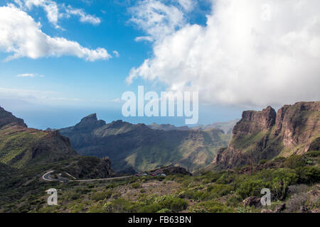 Silhouettes of mountain in the rainy day on Tenerife, Canary Islands, Spain - Stock Photo