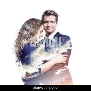 Double exposure of beautiful young couple - Stock Photo