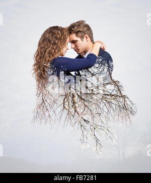 Doppelbelichtung schönen jungen Paares - Stockfoto