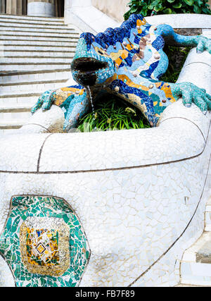 Lizard fountain in Parc Guell, Barcelona, Catalonia, Spain, Europe - Stock Photo