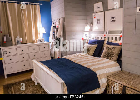 Paris, France, Shopping in Modern DIY Housewares Store, IKEA, Contemporary Bedroom on Display, ready-to-assemble - Stock Photo