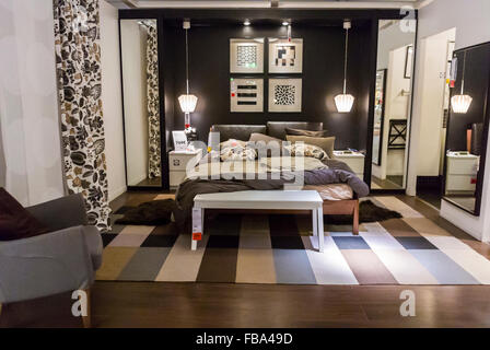 Paris, France, Display in Modern DIY Housewares Store, IKEA, Contemporary Bedroom Design ready-to-assemble furniture, - Stock Photo