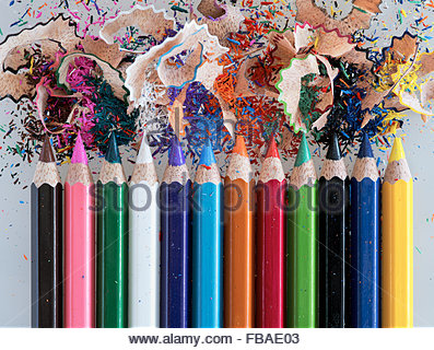 Studio shot of colored pencils and pencil shavings - Stock Photo
