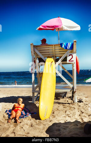 Lifeguards Station on Sandy Hook Beach Monmouth County, New Jersey - Stock Photo