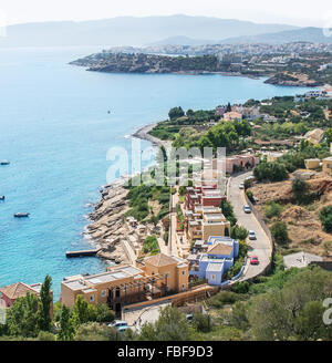 The marvelous landscape of the Elounda beach Crete. - Stock Photo