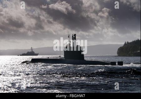 Submarine Ula of the Norwegian Navy and the destroyer USS Nitze - Stock Photo