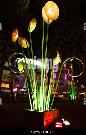 London, UK. 15th Jan, 2016. Garden of Light by French artish TILT at Leicester Square at Lumiere London exibition. - Stock Photo