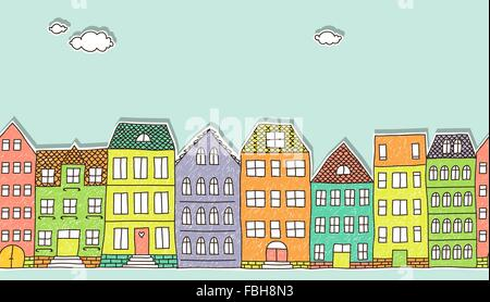colorful cutout doodle houses, horizontal seamless pattern - Stockfoto