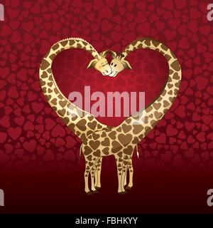 Big heart formed by a giraffe's couple, designed for a Valentines day card. - Stock Photo